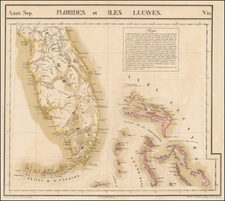 Florida and Bahamas Map By Philippe Marie Vandermaelen