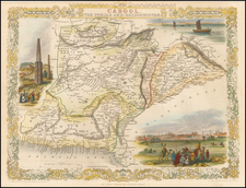 India, Central Asia & Caucasus and Middle East Map By John Tallis