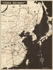 China and World War II Map By Army Bureau of Current Affairs
