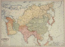 Asia and Asia Map By William Rand  &  Andrew McNally