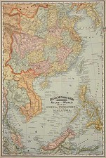 Asia, China, Korea, Southeast Asia and Philippines Map By William Rand  &  Andrew McNally
