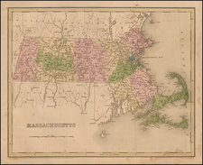 New England and Massachusetts Map By Thomas Gamaliel Bradford