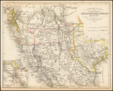 Texas, Southwest, Rocky Mountains, Mexico and California Map By Joseph Meyer
