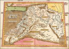 Balearic Islands, Middle East, Holy Land and Turkey & Asia Minor Map By Claudius Ptolemy / Johann Reger