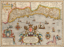 France and Italy Map By Abraham Ortelius / Johannes Baptista Vrients
