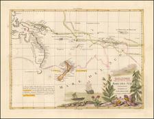 Australia & Oceania, Australia, Oceania and New Zealand Map By Antonio Zatta