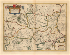 Romania, Serbia and Bulgaria Map By Willem Janszoon Blaeu