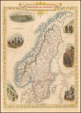 Sweden and Norway Map By John Tallis