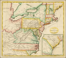 United States, New England, Mid-Atlantic and Southeast Map By John Stockdale  &  Isaac Weld