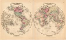 World and World Map By Alvin Jewett Johnson / Browning