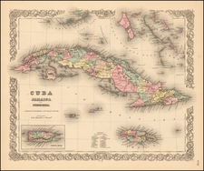 Cuba, Jamaica and Bahamas Map By Joseph Hutchins Colton