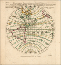 Western Hemisphere and America Map By Pierre Moullart Sanson