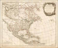 North America Map By Gilles Robert de Vaugondy