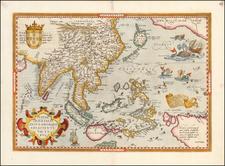 Alaska, Japan, India, Southeast Asia, Philippines, Indonesia, Malaysia, Australia, Oceania and California Map By Abraham Ortelius