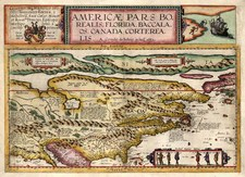 World, Polar Maps, United States and North America Map By Cornelis de Jode