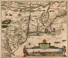 New England, Mid-Atlantic and Canada Map By Justus Danckerts