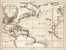 Atlantic Ocean, North America, South America and America Map By Vincenzo Maria Coronelli