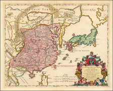 China, Japan, Korea and Central Asia & Caucasus Map By Giacomo Giovanni Rossi - Giacomo Cantelli da Vignola