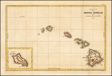 Hawaii and Hawaii Map By Jules Sebastian Cesar Dumont-D'Urville