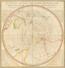 Southern Hemisphere, Polar Maps, Australia and New Zealand Map By James Cook