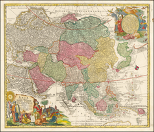Asia and Asia Map By Matthaus Seutter / Johann Michael Probst