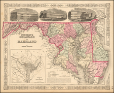 Johnson's Delaware and Maryland [Inset map of Washington DC] By Benjamin P Ward  &  Alvin Jewett Johnson