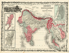 Asia, India and Southeast Asia Map By Benjamin P Ward  &  Alvin Jewett Johnson