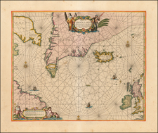 Polar Maps, Atlantic Ocean, Canada, British Isles and Iceland Map By Pieter Goos