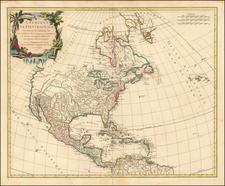 Amerique Septenrionale dressee sur les Relations les plus modernes des Voyageurs et Navigateurs et divisee suivant les differentets possessions des Europeens . . . 1750 By Gilles Robert de Vaugondy