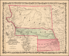 Johnson's Nebraska, Dakota, Colorado & Kansas By Benjamin P Ward  &  Alvin Jewett Johnson