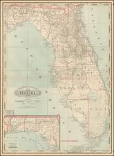 Florida Map By George F. Cram