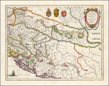 Balkans, Croatia & Slovenia, Bosnia & Herzegovina and Serbia Map By Willem Janszoon Blaeu