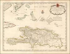 Carte de l'Isle de Saint Domingue Dressee en 1722 pour l'usage du Roy Sur les memoires de Mr. Frezier . . . 1725 By Philippe Buache