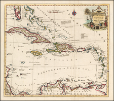 Florida, Caribbean and Central America Map By Anonymous