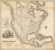 North America and California Map By Joseph Hutchins Colton