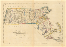 Massachusetts Map By Mathew Carey
