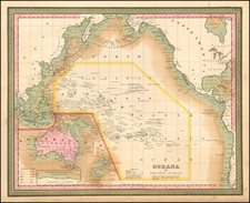 Hawaii, Australia, Oceania and Hawaii Map By Samuel Augustus Mitchell