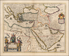 Turkey, Mediterranean, Balearic Islands, Middle East and Turkey & Asia Minor Map By Willem Janszoon Blaeu