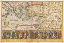 Greece, Holy Land, Turkey & Asia Minor and Egypt Map By Richard Blome