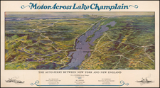 Vermont, New York State and Pictorial Maps Map By Champlain Transportation Co.
