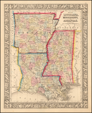 Map of Louisiana, Mississippi and Arkansas By Samuel Augustus Mitchell Jr.