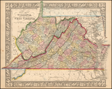 County Map of Virginia and West Virginia By Samuel Augustus Mitchell Jr.