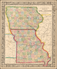 Iowa and Missouri Map By Samuel Augustus Mitchell Jr.