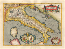 Italy Map By Abraham Ortelius