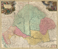 Austria, Hungary, Czech Republic & Slovakia and Balkans Map By Johann Baptist Homann