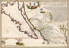 Southwest, Baja California, California and California as an Island Map By Nicolas de Fer