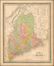 New England Map By Samuel Augustus Mitchell