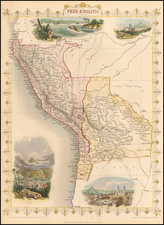 South America and Peru & Ecuador Map By John Tallis