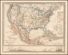 United States and Mexico Map By Adolf Stieler
