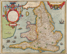England Map By Abraham Ortelius